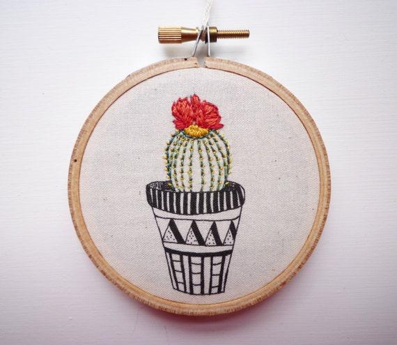 Modern embroidery cactus inch hoop art