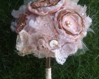fabric flower bouquet, fabric bouquet, bride bouquet, fabric bridal bouquet, brooch bouquet, vintage bride bouquet