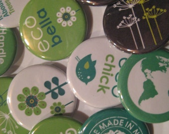 10 Pin Back Button Party Favors Assorted Eco Friendly Theme 1.25 inch Buttons