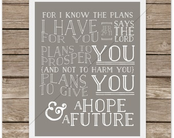 Jeremiah 29:11 For I Know The Plans I Have For You (Instant Download) Printable Subway Art Watercolor Digital