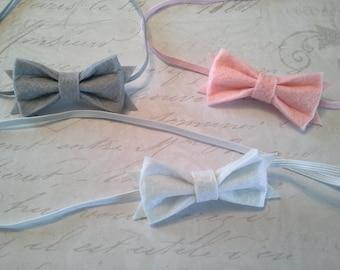 set 3 headbands, baby headbands, newborn headbands, baptism headband, bow headbands, vintage headbands, dainty headbands, felt headbands