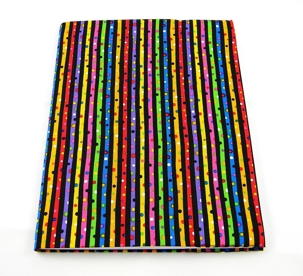 Rainbow Book Cover Material : Rainbow streaks reusable composition book cover by