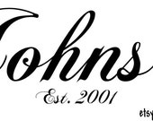 Customized Family Last Name Vinyl Wall Decal