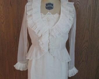 Vintage Victorian Style  Wedding Dress 1970's