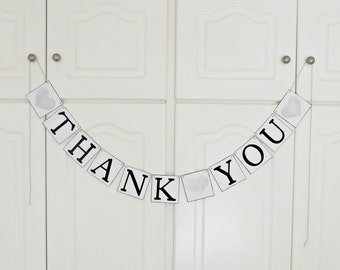 FREE SHIPPING, Thank You banner, Bridal shower banner, Wedding banner, Engagement party decoration, Photo prop, Bachelorette party, Silver