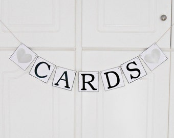 FREE SHIPPING, Cards banner, Bridal shower banner, Wedding banner, Engagement party decor, Wedding sign, Bachelorette party decor, Silver