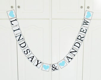 FREE SHIPPING, Personalized wedding banner, Bridal shower banner, Engagement party decoration, Custom banner, Bachelorette party, Light blue