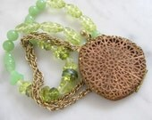 On Hold for Abbey Rupe. Mint Green Beaded Vintage Pendant Necklace