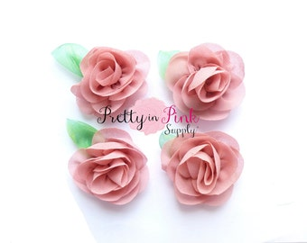 Dusty Rose Chiffon Rose with Leaf Flower...You Choose Quantity...Chiffon Rose Flower...Rolled Rosettes...Mini Rolled Rosettes...Shabby Rose