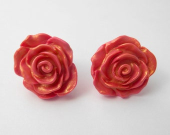 Pink & Gold Rosette Stud Earrings