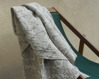 Linen throw blanket, natural taupr gray white damask bedspread, patterned reversible pure flax beach picnic blanket