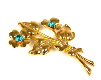 Coro Aqua Rhinestone Flower Bouquet Brooch 1950s jewelry