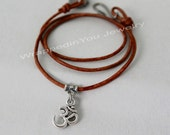 Silver Om CHOKER w/ Blank Stamping Coin Disc - Ohm on Adjustable Leather Cord w/ Hook - Boho Choker Necklace - COLOR / LENGTH - Usa - 988