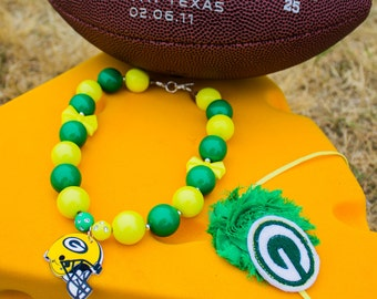 Green Bay Packers football necklace and headband, Chunky necklace, sports, CHOOSE ANY team,