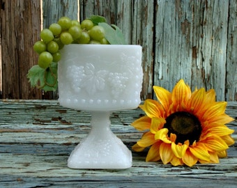 Vintage Anchor Hocking Milk Glass Squared Compote