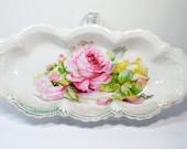 """Antique Porcelain Serving Dish Bowl """"LEUCHTENBURG GERMANY"""" Roses Luster - 1850-1910"""
