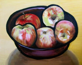 "Apples -Oil Still Life Painting 16x20"" Original Artwork, kitchen art, fruit, modern"
