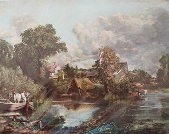 On sale; Masterpiece: The White Horse By John Constable (1776-1837) - a 1950 reproduction full color art print. art. home decor.
