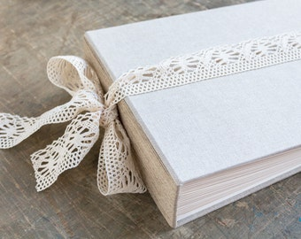 Large Rustic Linen and Lace Photo Album or Wedding Guest Book Rustic Photo Book Baby Photo Album Photo Guest Book
