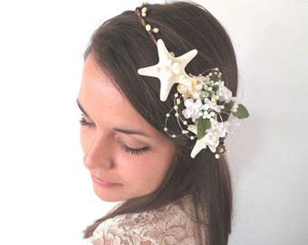Kealohi- Vintage Style Beach Wedding Flower Crown-Mermaid Bridal Crown -Sea Shell Flower Crown-Beach Wedding Hair Crown-Crown of Sea Shells