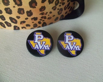 Prairie View A&M Universty Small Wood Button Earrings
