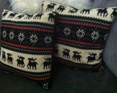 Festive snowflake and deer winter striped decorative pillow. - SuiteV207