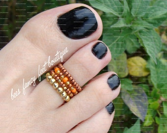 Stacking Toe Ring - Pumpkin Spice - Orange - Gold - Copper - Stretch Bead Toe Ring