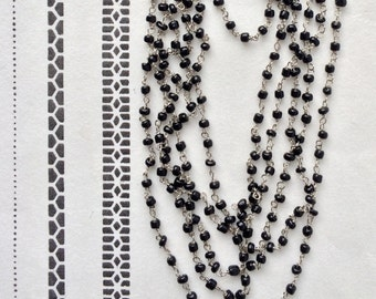 Black Rosary Chain, Seed Bead Chain, Glass Bead Chain, 3mm, 5Ft