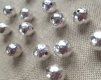Sterling Silver Plated Hammered Bead, Silver Beads, 10mm, 6pcs