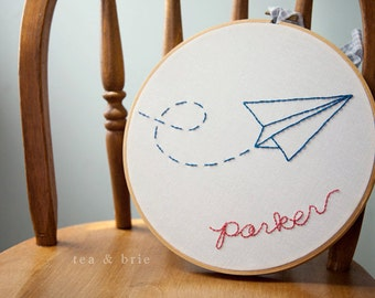 Persnonalized Paper airplane hand embroidery hoop wall display for child room nursery or playroom