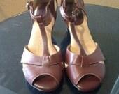 Softspots Sling-Back Open Toe Heels Size 8M Brown