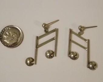 Xmas Sale Vintage Sterling Silver Musical Note Dangle Earrings