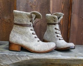 Hand-felted women boots MARCELLA latte