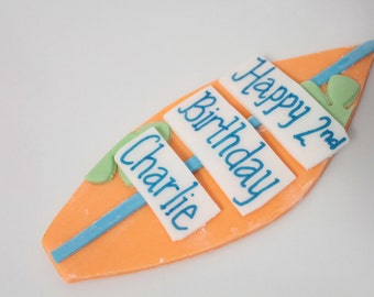 Edible Fondant Surfboard Birthday Sign 1 qty for a Birthday , Surfing Party, Birthday Luau, Surf Birthday, Summer Pool party, Beach party