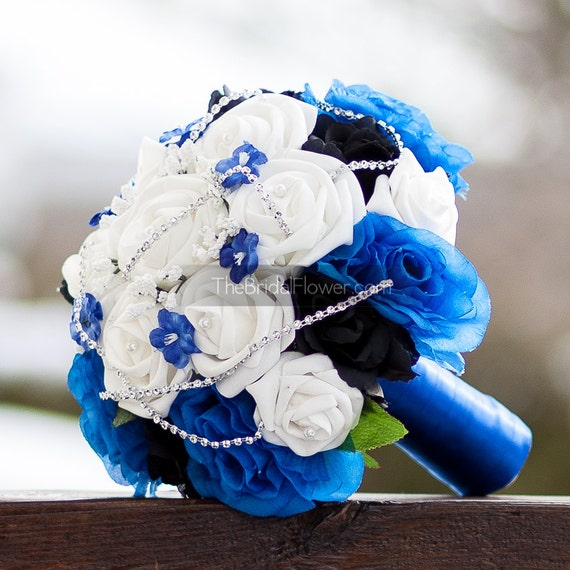 Royal Blue And Silver Wedding Flowers: Items Similar To Royal Blue Silver And Black Wedding