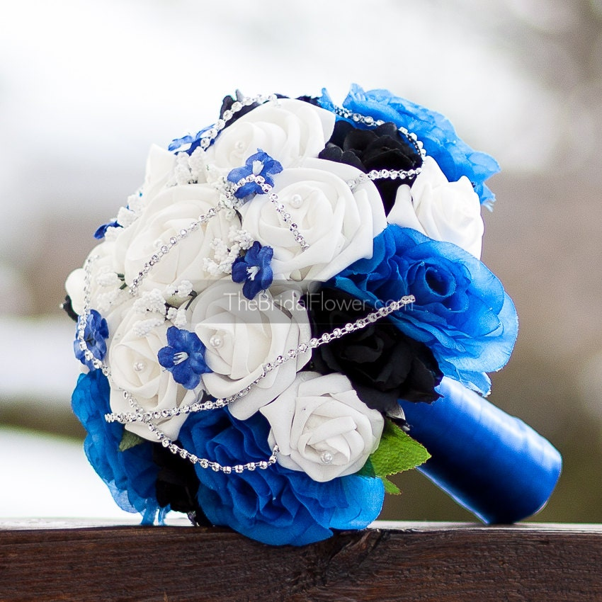 Royal Blue And Silver Wedding Ideas: Royal Blue Silver And Black Wedding Bridal By TheBridalFlower