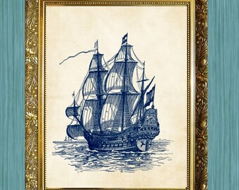 Sailing Ship I Art Print Bathroom Print 8 x 10 Ocean Art Nautical Art Print Blue Boat Print