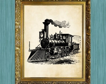 Train Art Print Transportation Art Railway Art