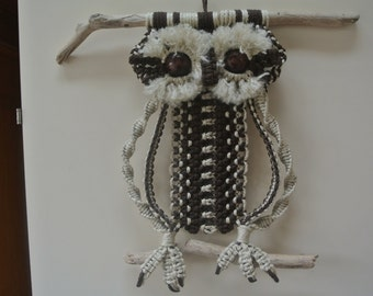 Macrame Owl Brown & Beige / Home Deco / Wall hanging