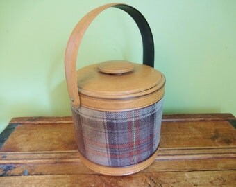 Vintage Georges Briard Ice Bucket - Mid Century - Brown and Red Tartan Plaid - Faux Leather Trim - Retro Barware - Mad Men Decor - Man Cave