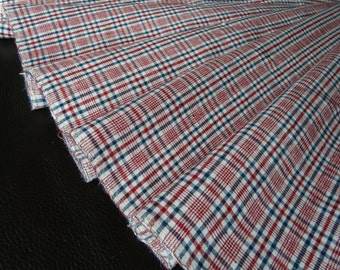 Vintage handwoven linen/flax fabric with Red White small Karo/gingham/check organic