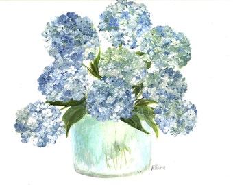 Original Watercolor Hydrangea Series 1, Original Watercolor Print, Watercolor Blue Hydrangea Painting,