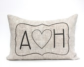 """initials pillow, custom pillow, name pillow, mother's day gift, christmas gift - """"The A heart H"""""""