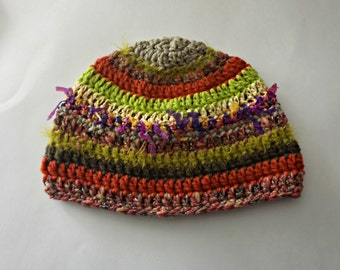 Serendipity Hat orange yellow green fluffy fuzzy sparkle FUN oh so much texture and One Of A Kind