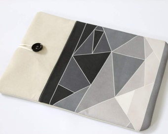 Laptop Case, grey geometry, front pocket, Macbook New 12 in, laptop sleeve, padded case, Dell XPS 13, Lenovo Ideapad case, Chromebook cover