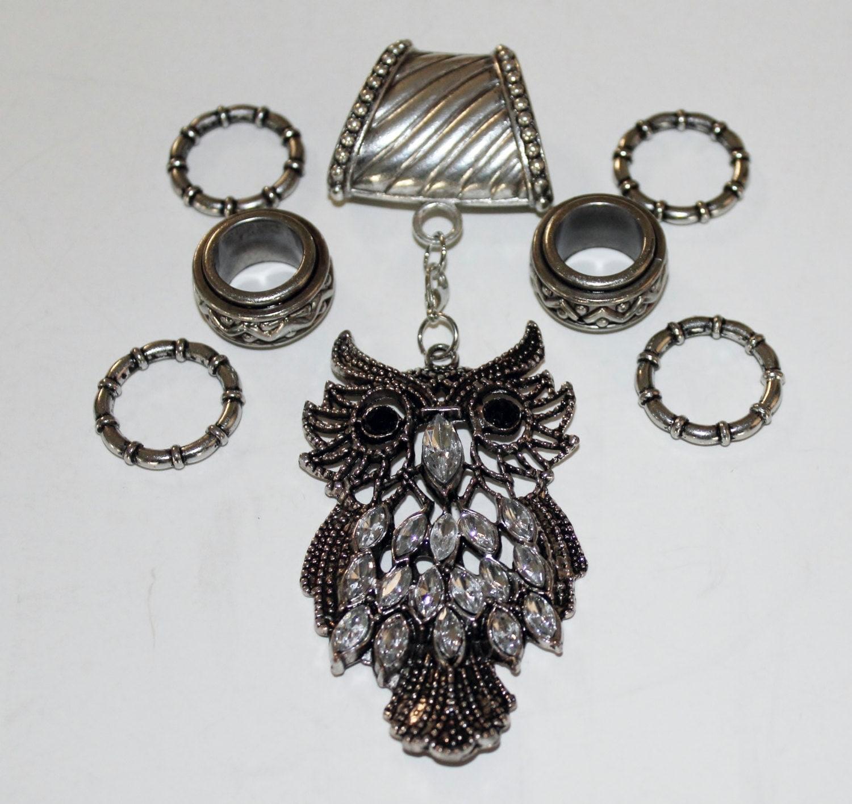 scarf slide with rhinestone owl pendant by jewelryfromkaren