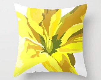 Flower Art Pillow Cover 18x18 - Decorative Flower Pillow Cover, Yellow Throw Pillow Cover, Light Yellow
