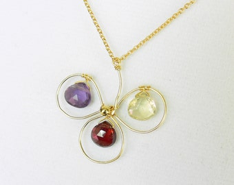 SALE - Garnet, Lemon Quartz, Purple Amethyst Clover Wired in 18K Yellow Gold Vermeil Pendant Necklace