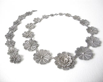Vintage Sterling Silver Floral Filigree Necklace With Matching Bracelet