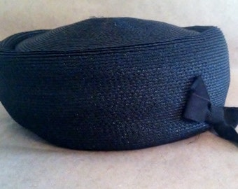 Vintage Pretty Black Bow Pill Hat